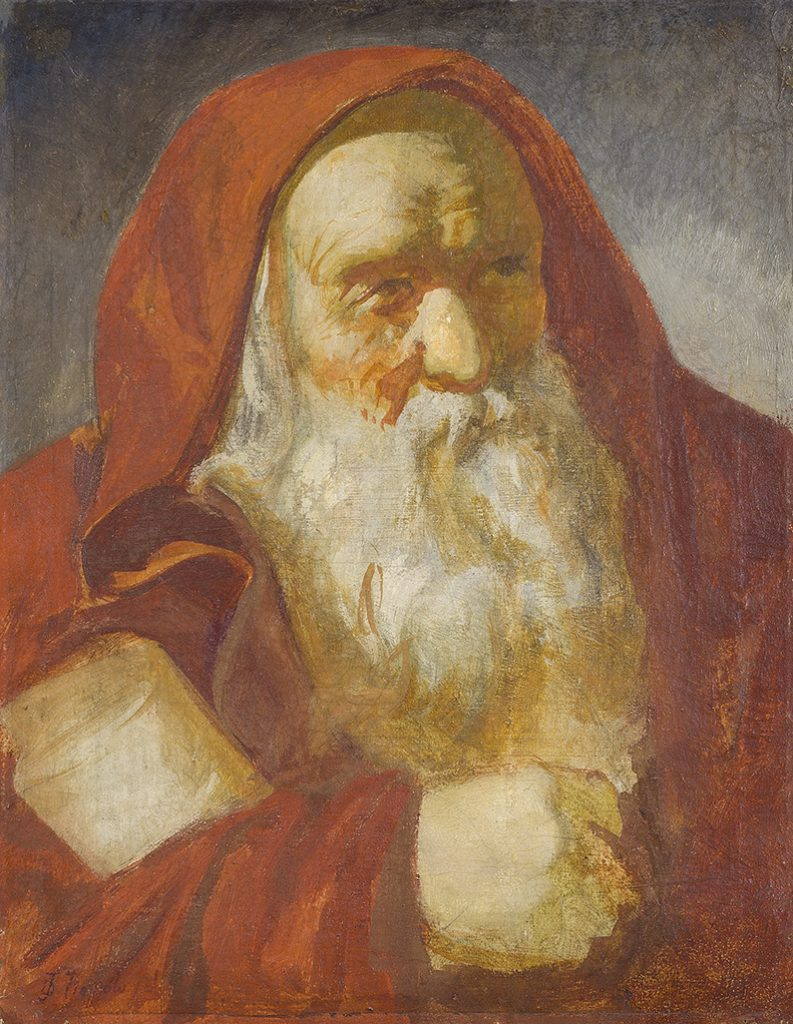 Bearded man dressed in red