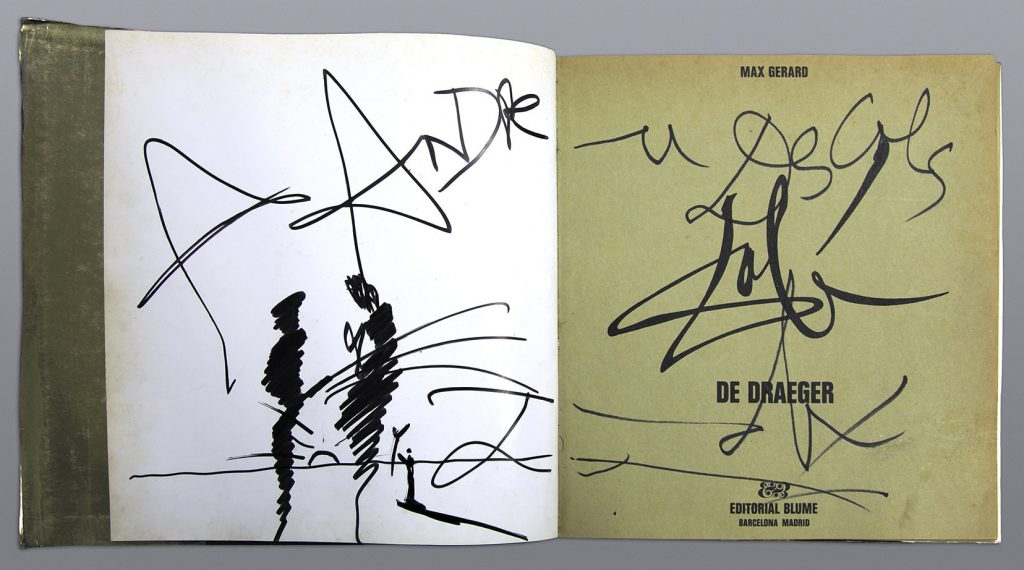 Il·lustració i dedicatòria de Dalí