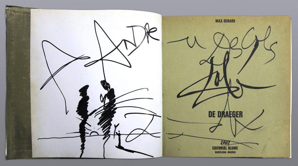 Ilustración y dedicatória de Dalí