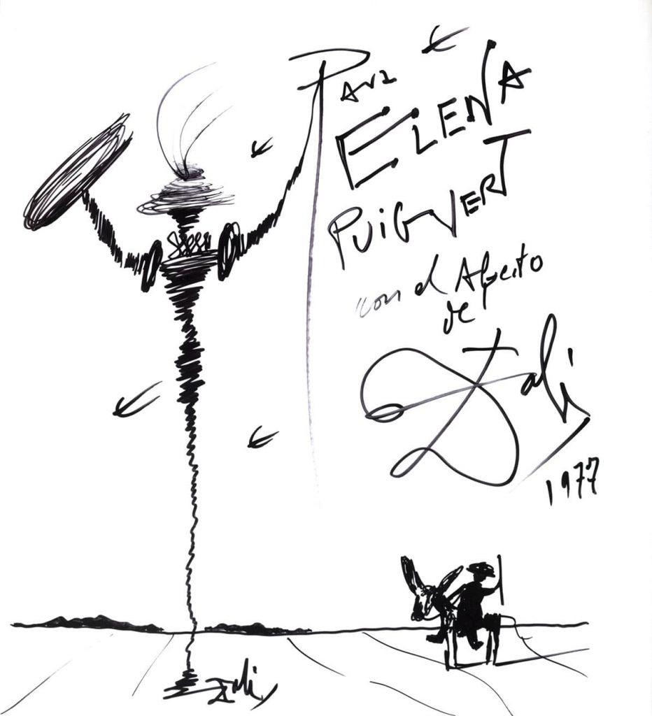 Dedicatoria libro autor Dalí en Elena Puigvert
