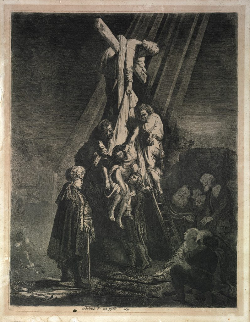 The Descent from the Cross: Second engraving plate (5th state of 5)