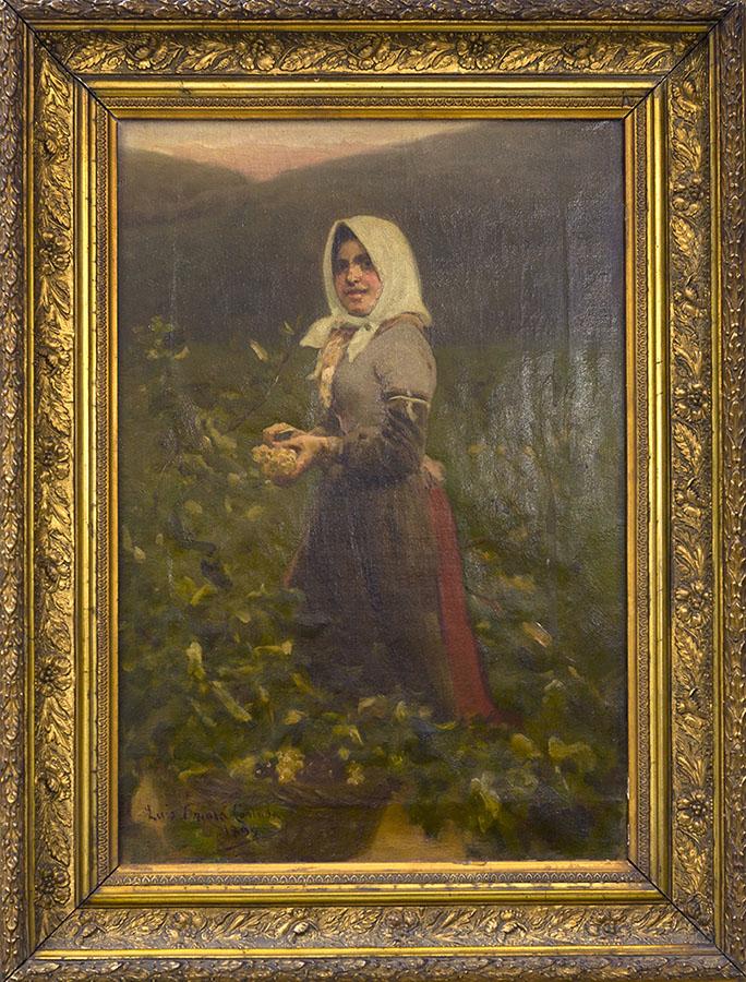 Campesina en un viñedo