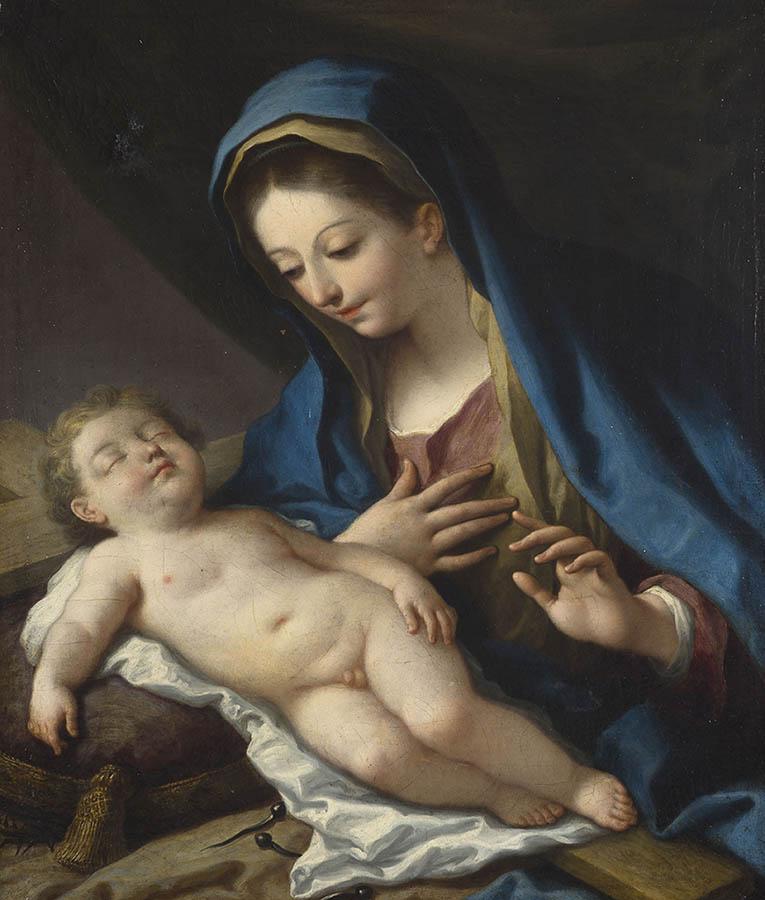 La Virgen con el Niño Jesús dormido