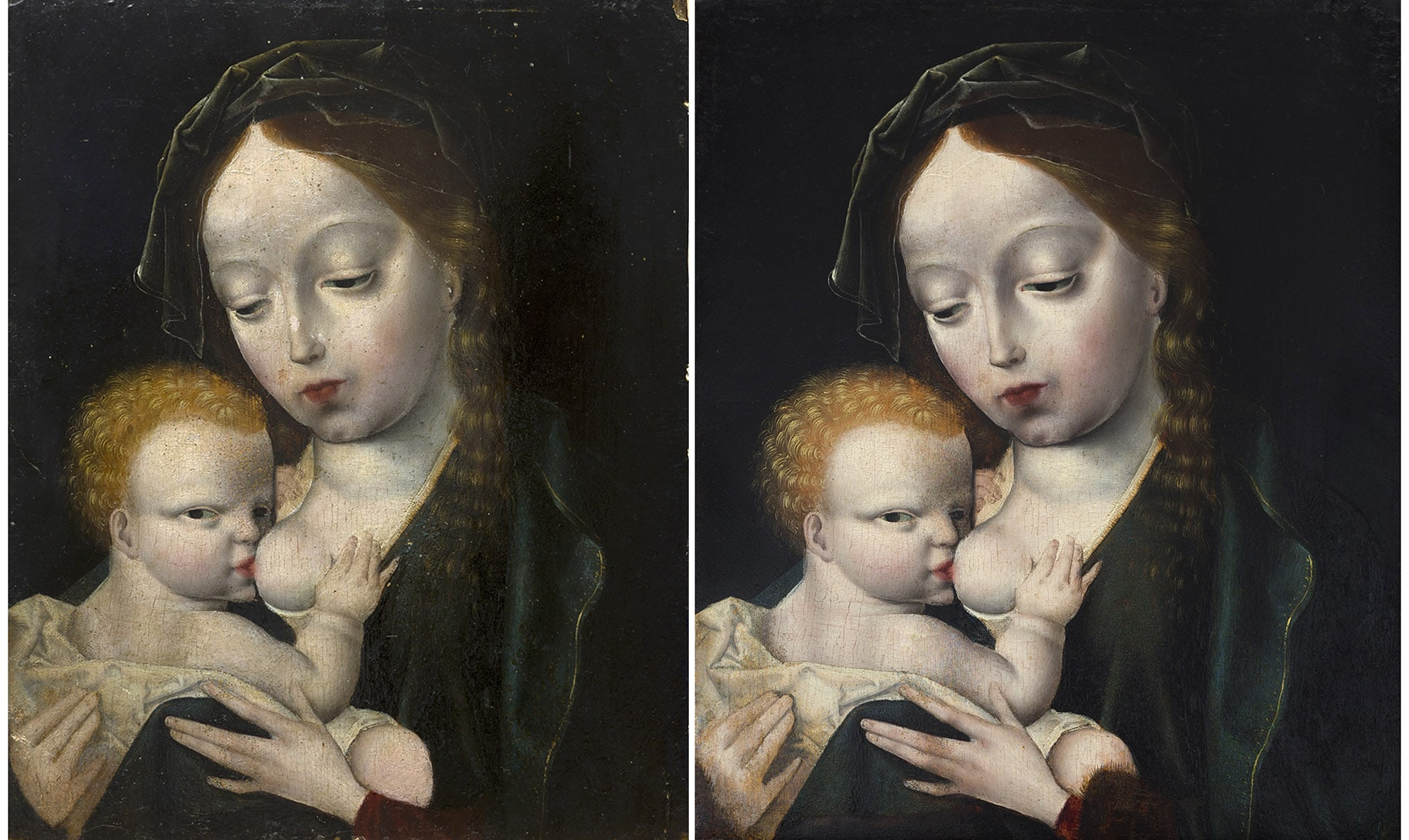 Painting restoration Virgo Lactans