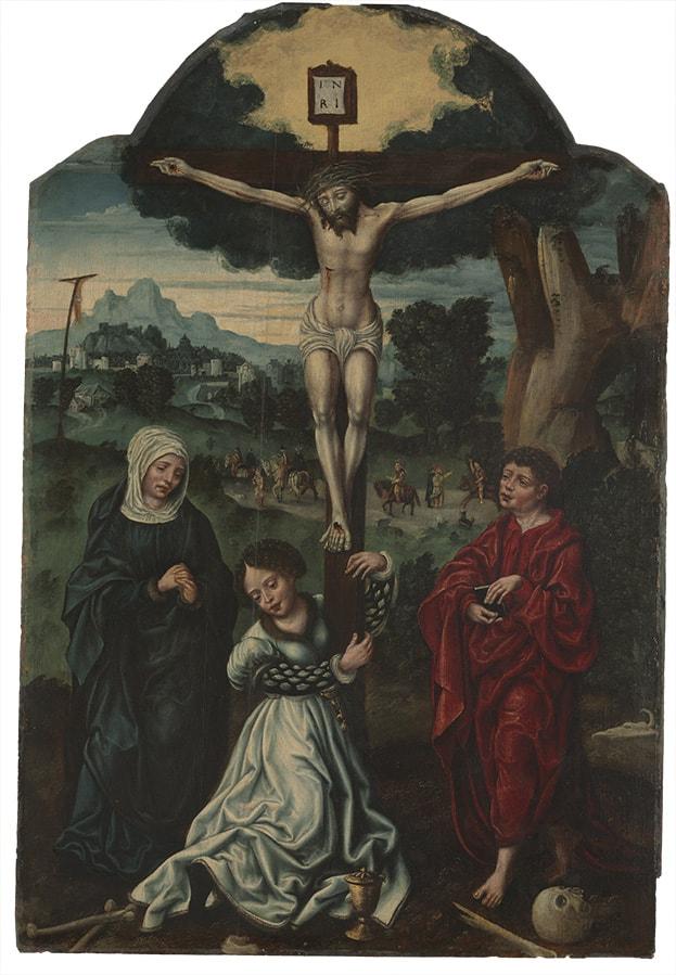 Cristo crucificado, con la Virgen María, Santa María Magdalena y San Juan Evangelista