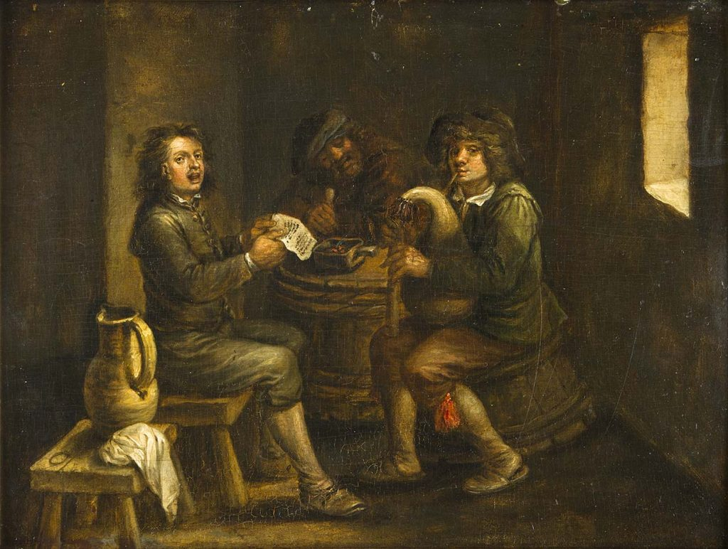 Tres personatges cantant i tocant a un interior